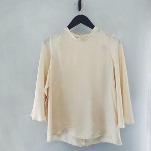 Zara NWT Satin Blouse w/cape back size XS